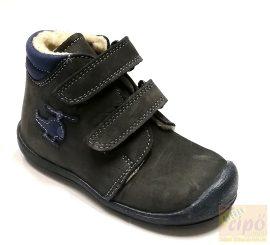 Florens 910 téli bőrcipő,műszőrme béléssel, szürke-kék 23,keskenyebb lábra ajánljuk