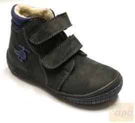 Florens 910 téli bőrcipő,műszőrme béléssel, szürke-kék 30