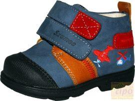 Szamos 1524-30709 supinált cipő farmerkék,hímzett piros repülővel 21