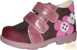 Szamos 1488-50749 supinált cipő,bordó-rózsaszín hímzett virággal 35